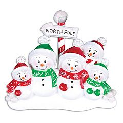 PolarX Ornaments Snowman Family Of 5 Christmas Ornament