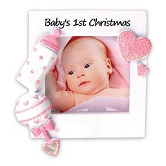 PolarX Ornaments 2.25' x 2.25' Pink 'Baby's 1st' Photo Holder Christmas Ornament