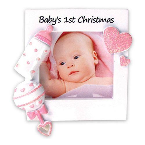 "PolarX Ornaments 2.25"" x 2.25"" Pink ""Baby's 1st"" Photo Holder Christmas Ornament"