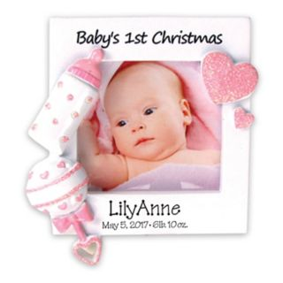 "PolarX Ornaments 2.25"" x 2.25"" Pink ""Baby's 1st"" Photo Holder Christmas Ornament"