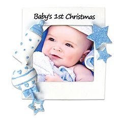 PolarX Ornaments 2.25' x 2.25' Blue 'Baby's 1st' Photo Holder Christmas Ornament