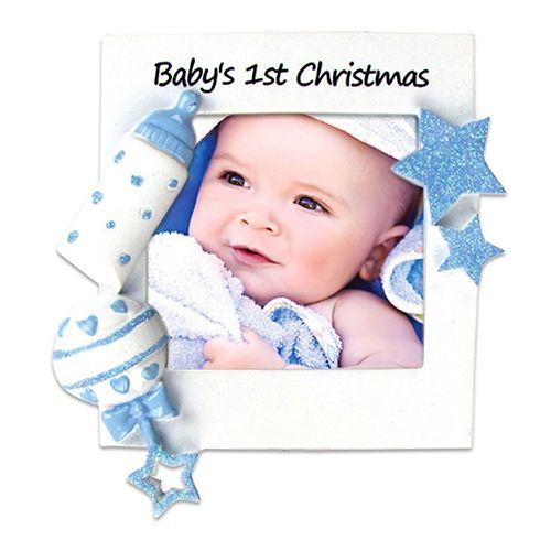 "PolarX Ornaments 2.25"" x 2.25"" Blue ""Baby's 1st"" Photo Holder Christmas Ornament"