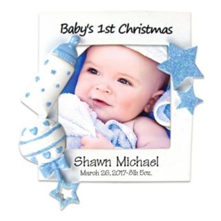 "PolarX Ornaments 2.25"" x 2.25"" Blue ""Baby's 1st"" Photo Holder Christmas Ornament"