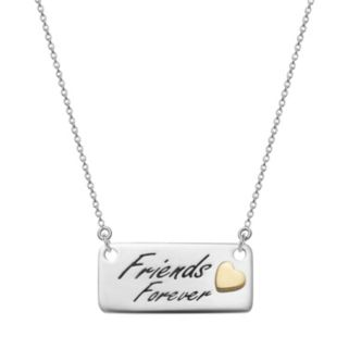"""Sterling Silver """"Friends Forever"""" Bar Necklace"""