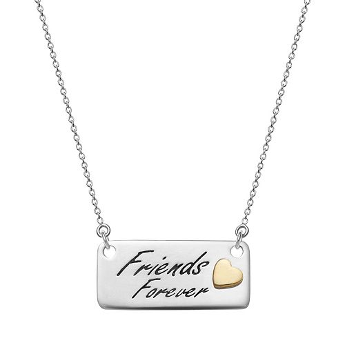 "Sterling Silver ""Friends Forever"" Bar Necklace"