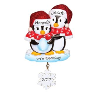 """PolarX Ornaments Penguin """"We're Expecting!"""" Christmas Ornament"""