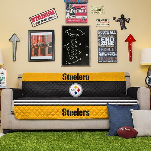 Enjoyable Pittsburgh Steelers Quilted Sofa Cover Short Links Chair Design For Home Short Linksinfo