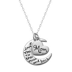 Sterling Silver 'I Love You to the Moon and Back' Pendant Necklace