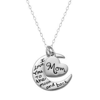 "Sterling Silver ""I Love You to the Moon and Back"" Pendant Necklace"