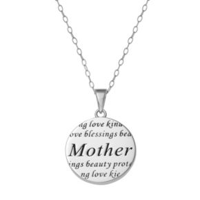 "Sterling Silver ""Mother"" Disc Pendant Necklace"
