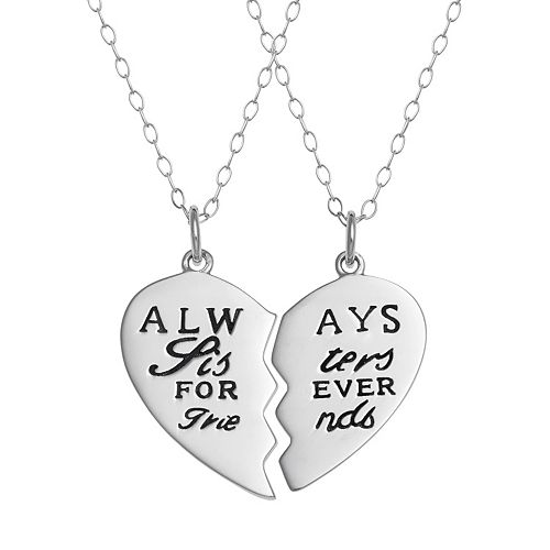 "Sterling Silver ""Sisters"" Heart Pendant Necklace Set"