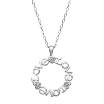"Sterling Silver Cubic Zirconia ""Love"" Pendant Necklace"