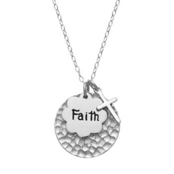 """Sterling Silver """"Faith"""" Disc Charm Pendant Necklace"""