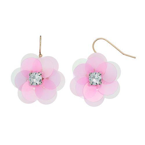 LC Lauren Conrad Pink Flower Drop Earrings