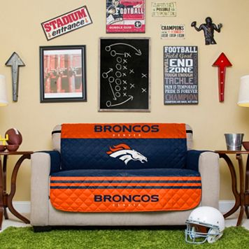 Denver Broncos Quilted Loveseat Cover