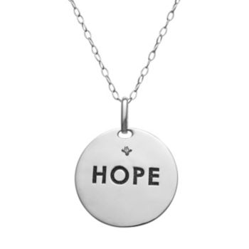 "Sterling Silver ""Hope"" Disc Pendant Necklace"