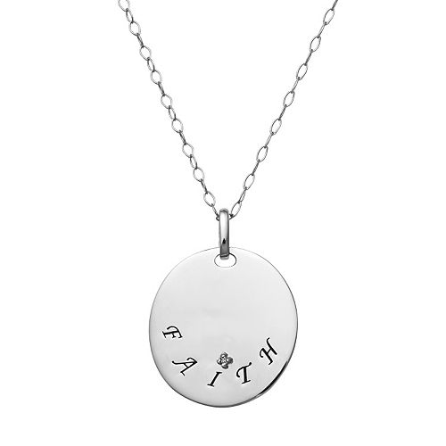 """Sterling Silver """"Faith"""" Disc Pendant Necklace"""