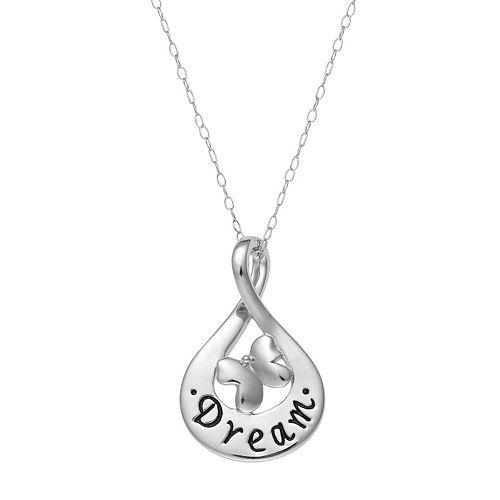 "Sterling Silver ""Dream"" Teardrop Pendant Necklace"