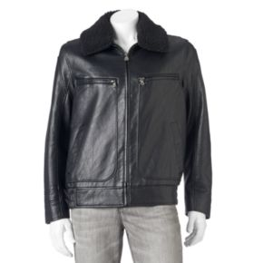 Men's Andrew Marc Distressed Faux-Leather Aviator Jacket