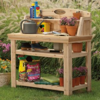 Suncast Cedar Finish Potting Table