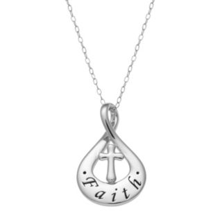 "Sterling Silver ""Faith"" Teardrop Pendant Necklace"