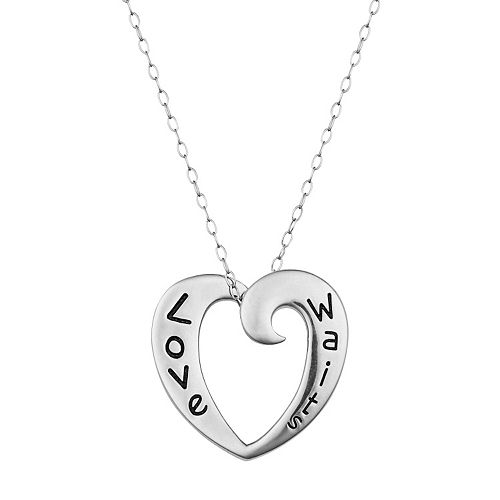 "Sterling Silver ""Love Waits"" Purity Heart Pendant Necklace"