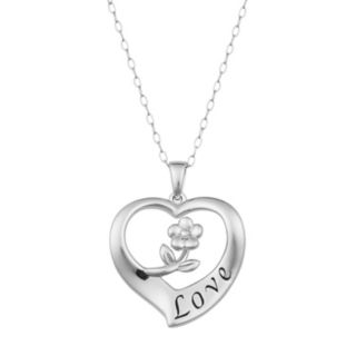"Sterling Silver ""Love"" Heart Pendant Necklace"