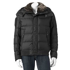 Men's Andrew Marc Down Hooded Faux-Fur Trim Bomber Jacket by