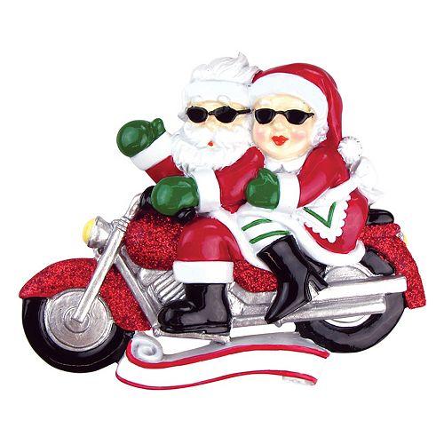 PolarX Ornaments Santa & Mrs. Claus Motorcycle Christmas Ornament