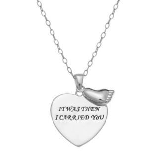 """Sterling Silver """"It Was Then I Carried You"""" Heart Pendant Necklace"""