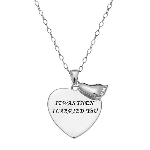 "Sterling Silver ""It Was Then I Carried You"" Heart Pendant Necklace"