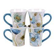 Certified International The Greenhouse Poppies 4 pc Mug Set