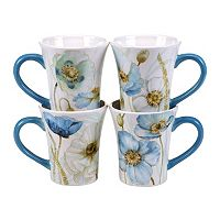 Certified International The Greenhouse Poppies 4 pc Mug Set