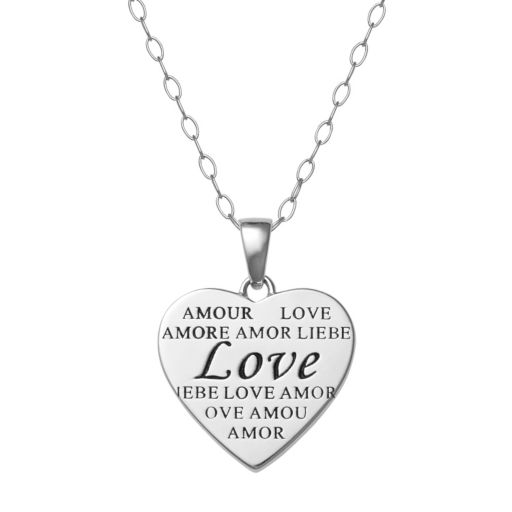 """Sterling Silver """"Love"""" Heart Pendant Necklace"""