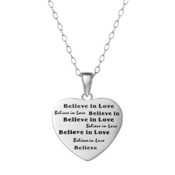 "Sterling Silver ""Believe in Love"" Heart Pendant Necklace"