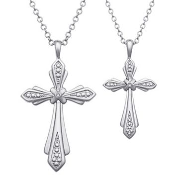 Crystal Mother & Daughter Sentimental Cross Pendant Set