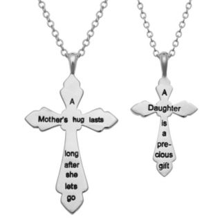 Crystal Mother & Daughter Sentimental Cross Pendant Set