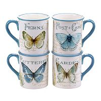 Certified International The Greenhouse Butterfly 4 pc Mug Set