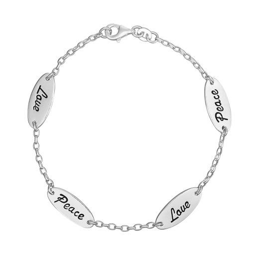 Sterling Silver Love & Peace Bracelet