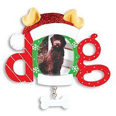 PolarX Ornaments 1.5' x 1.5' 'Dog' Photo Holder Christmas Ornament