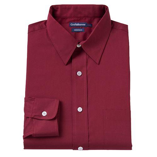 Big & Tall Croft & Barrow® Fitted Checked Dress Shirt