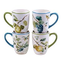 Certified International The Greenhouse Fruit 4 pc Mug Set