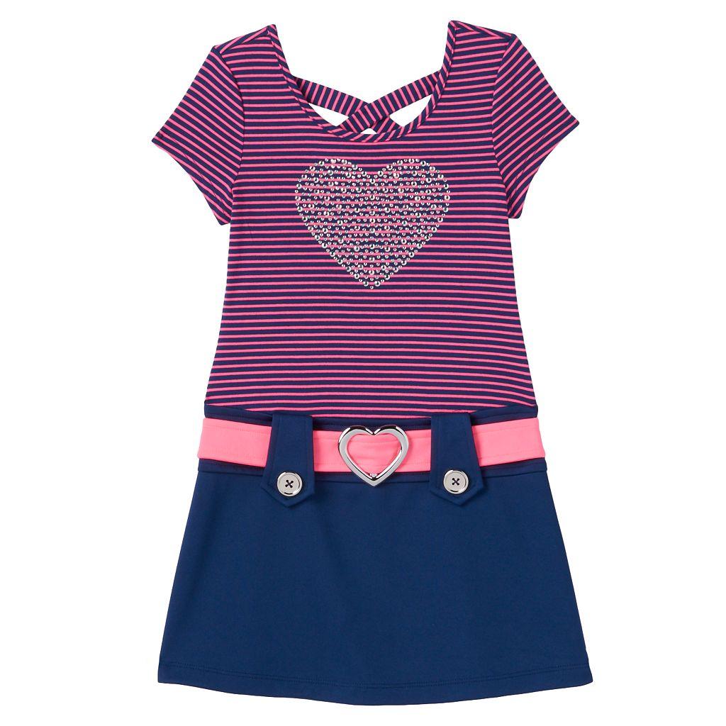 Girls 4-6x Lilt Rhinestone Heart Cross-Back Dress