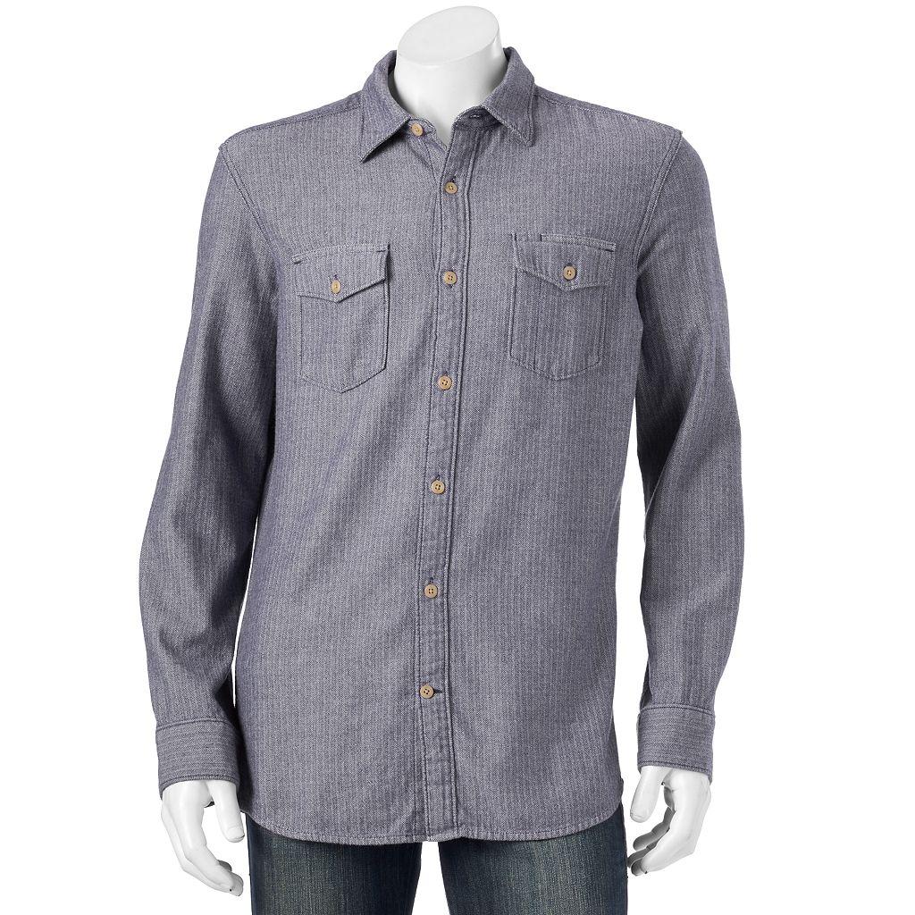 Men's SONOMA Goods for Life™ Modern-Fit Herringbone Button-Down Shirt