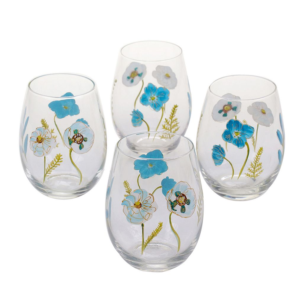 Certified International The Greenhouse 4-pc. Hand Painted Stemless Wine Glass Set