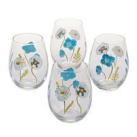 Certified International The Greenhouse 4 pc Hand Painted Stemless Wine Glass Set