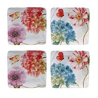 Certified International Rainbow Seeds 4 pc Square Salad Plate Set