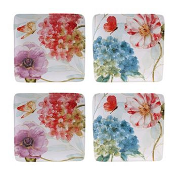 Certified International Rainbow Seeds 4-pc. Square Salad Plate Set