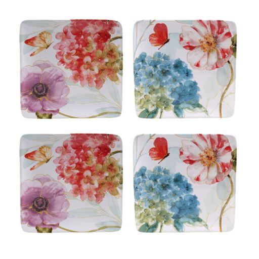 Certified International Rainbow Seeds 4-pc. Square Salad Plate Set