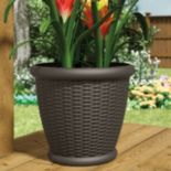 "Suncast Willow 18"" Resin Wicker Planter 2-piece Set"